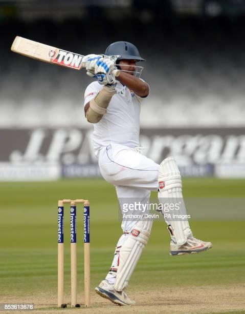 Sri Lanka's Kumar Sangakkara bats during day five of the Investec Test match at Lord's Cricket Ground London