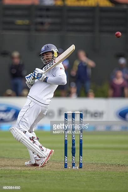 Sri Lanka's Kumar Sangakkara bats on day one of the second international Test cricket match between New Zealand and Sri Lanka at the Basin Reserve in...