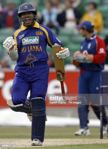 Sri Lanka's Kumar Sangakkara celebrates following their victory during the third NatWest Series match against England at the Riverside Stadium...
