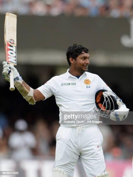 Sri Lanka's Kumar Sangakkara celebrates scoring his first century at Lord's during day three of the Investec Test match at Lord's Cricket Ground...
