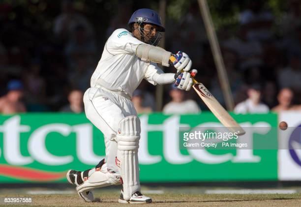 Sri Lanka's Kumar Sangakkara hits the ball during the First Test at the Asgiriya International Stadium Kandy Sri Lanka