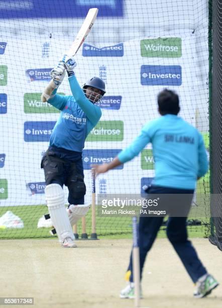 Sri Lanka's Kumar Sangakkara in action during a nets session at Headingley Leeds