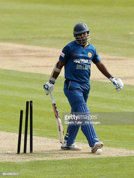 Sri Lanka's Kumar Sangakkara leaves the field after losing his wicket to Adam Ball during the tour match at The Spitfire Ground Kent