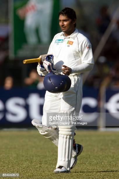 Sri Lanka's Kumar Sangakkara leaves the field for the tea interval
