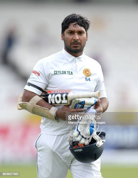 Sri Lanka's Kumar Sangakkara leaves the pitch after being out to Moeen Ali during day three of the second Investec Test match at Headingley Leeds