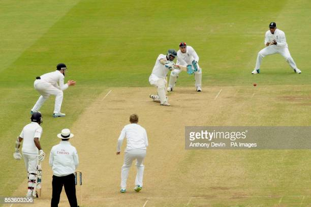 Sri Lanka's Kumar Sangakkara scores his 100th run during day three of the Investec Test match at Lord's Cricket Ground London