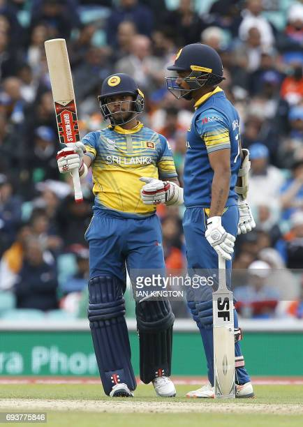 Sri Lankas Kusal Mendis celebrates his half century during the ICC Champions Trophy match between India and Sri Lanka at The Oval in London on June 8...