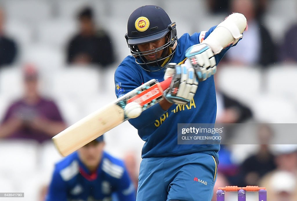Sri Lanka's Kusal Mendis plays a shot during the fourth One Day International (ODI) cricket match between England and Sri Lanka at The Oval cricket ground in London on June 29, 2016. / AFP / OLLY