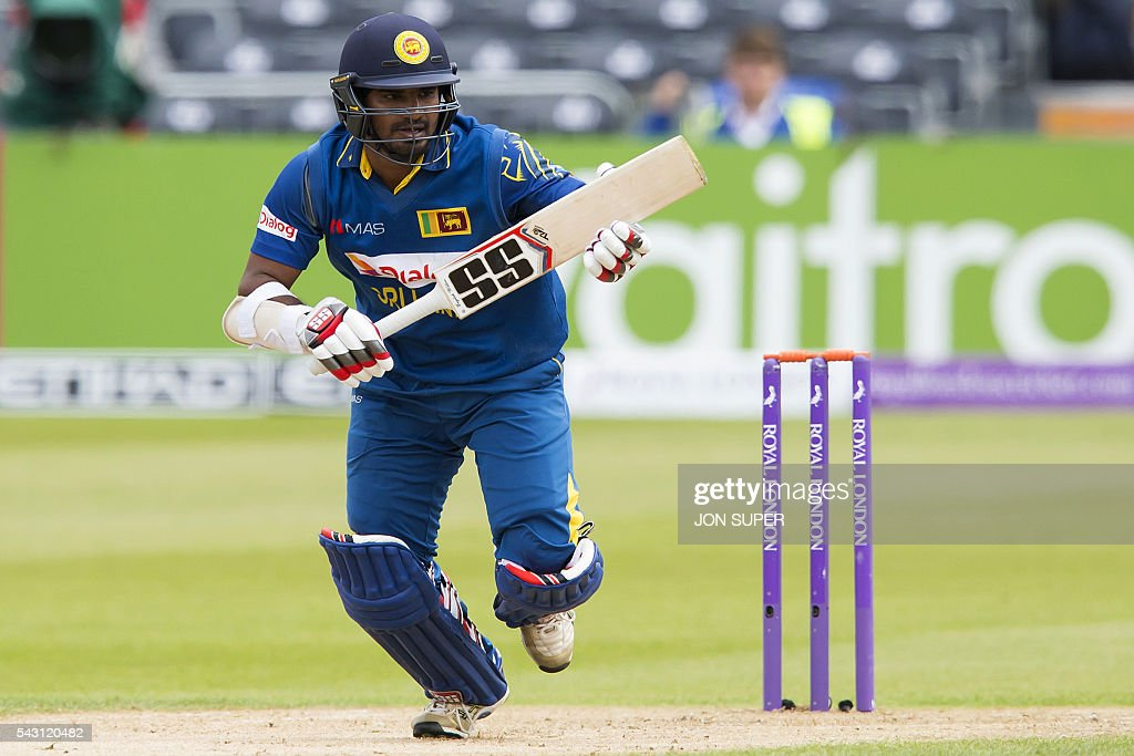 Sri Lanka's Kusal Perera makes a run during play in the third one day international (ODI) cricket match between England and Sri Lanka at Bristol cricket ground in Bristol, south-west England, on June 26, 2016. / AFP / JON