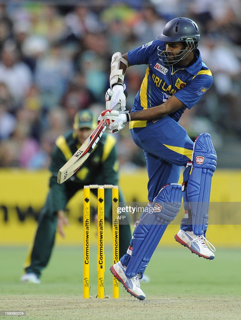 Sri Lanka's Lahiru Thirimanne bats against Australia during their one-day international cricket match at the Adelaide Oval on January 13, 2013. AFP PHOTO / David Mariuz USE