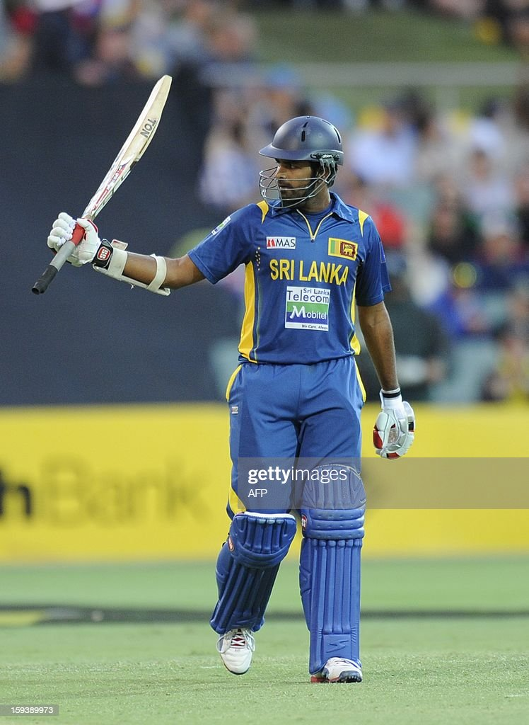 Sri Lanka's Lahiru Thirimanne celebrates his 50 runs against Australia during their one-day international cricket match at the Adelaide Oval on January 13, 2013. AFP PHOTO / David Mariuz USE
