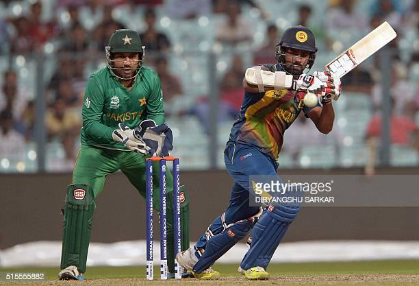 Sri Lanka's Lahiru Thirimanne plays a shot during a practice match between Pakistan and Sri Lanka at the Eden Gardens stadium during the World T20...
