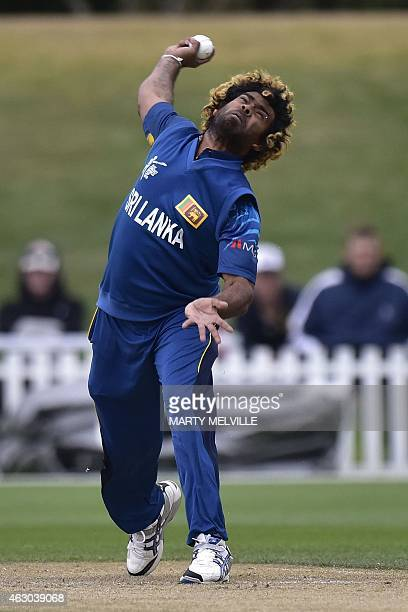 Sri Lanka's Lasith Malinga bowls during a Cricket World Cup oneday warm up match between South Africa and Sri Lanka at Hagley Park Oval in...