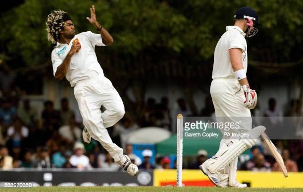 Sri Lanka's Lasith Malinga bowls during the First Test at the Asgiriya International Stadium Kandy Sri Lanka