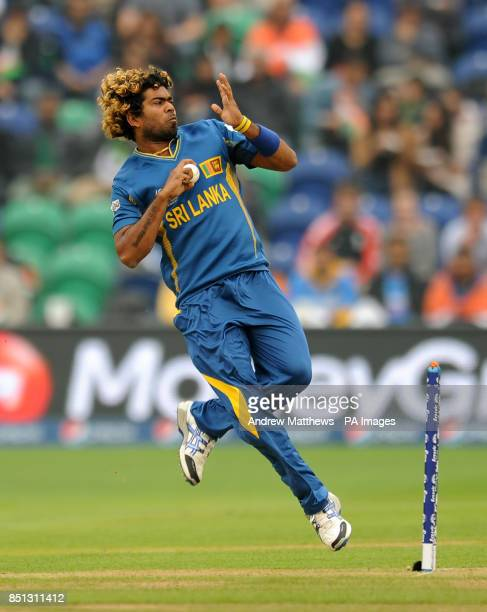 Sri Lanka's Lasith Malinga bowls during the ICC Champions Trophy Semi Final at the SWALEC Stadium Cardiff