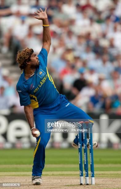 Sri Lanka's Lasith Malinga bowls during the ICC World Twenty20 Super Eights match at Trent Bridge Nottingham
