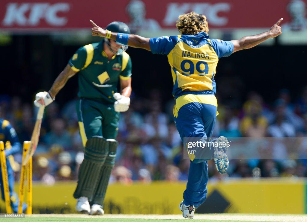 Sri Lanka's Lasith Malinga (R) celebrates after clean bowling Australia's batsman Mitchell Johnson (back L) during their one-day international cricket match at the Gabba in Brisbane on January 18, 2013. AFP PHOTO / Bradley KANARIS USE