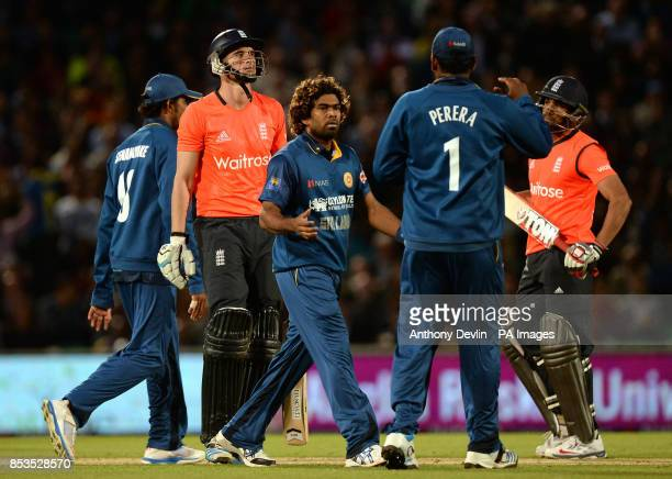 Sri Lanka's Lasith Malinga celebrates bowling out England's Alex Hales during the International T20 at The Kia Oval London