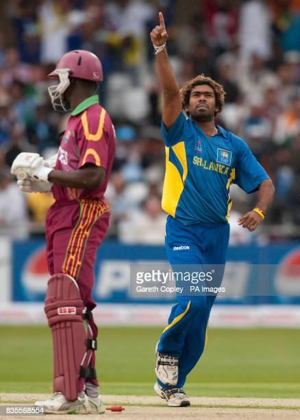 Sri Lanka's Lasith Malinga celebrates dismissing West Indies' Xavier Marshall during the ICC World Twenty20 match at Trent Bridge Nottingham
