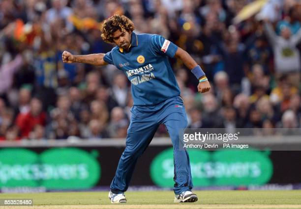Sri Lanka's Lasith Malinga celebrates taking the wicket of England's Ian Bell bowls during the International T20 at The Kia Oval London