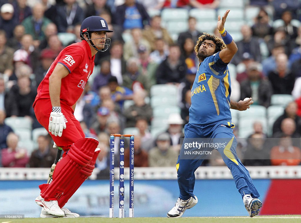 Sri Lanka's Lasith Malinga (R) delivers a ball as England Captain Alastair Cook (L) looks on during the 2013 ICC Champions Trophy One Day International (ODI) cricket match between England and Sri Lanka at The Oval cricket ground in London on June 13, 2013. Sri Lanka won the toss and elected to field first. AFP PHOTO / IAN KINGTON - RESTRICTED TO EDITORIAL USE.