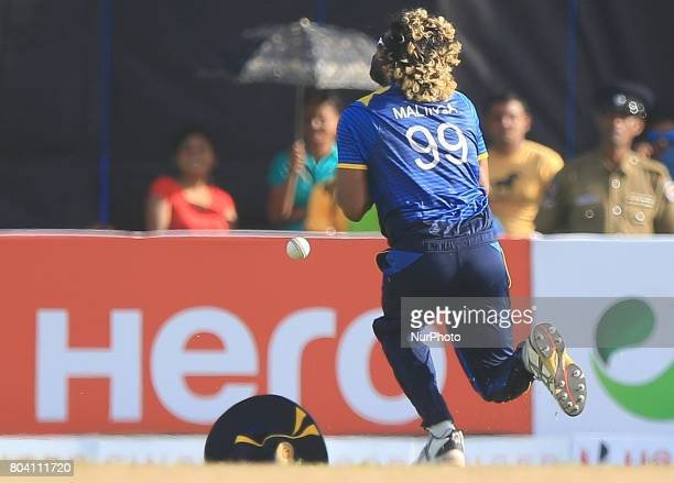 Sri Lanka's Lasith Malinga drops a catch to dismiss Zimbabwe's Solomon Mire during the 1st ODI cricket match at the Galle International cricket...