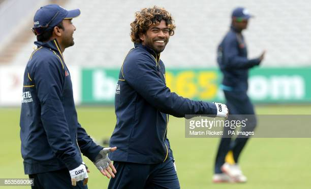 Sri Lanka's Lasith Malinga during the nets practice session at Old Trafford Cricket Ground Manchester