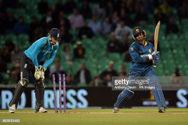 Sri Lanka's Lasith Malinga is bowled out by England's Ravi Bopara during the ODI at the Kia Oval London