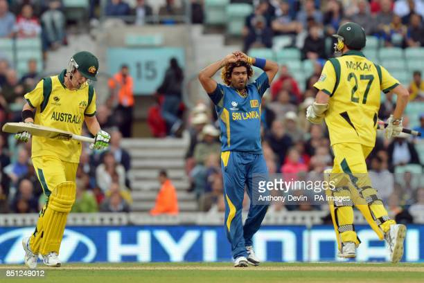 Sri Lanka's Lasith Malinga reacts as Australia begin to chase down the target during the ICC Champions Trophy match at The Oval London
