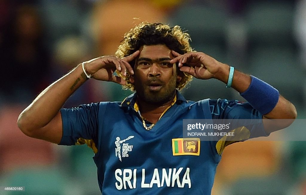 Sri Lanka's Lasith Malinga reacts during the 2015 Cricket World Cup Pool A match between Scotland and Sri Lanka at the Bellerive Oval in Hobart on...