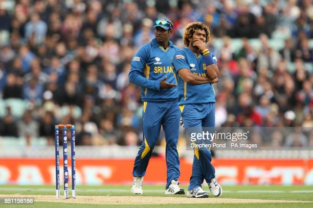Sri Lanka's Lasith Malinga reacts during the ICC Champions Trophy match at The Kia Oval London