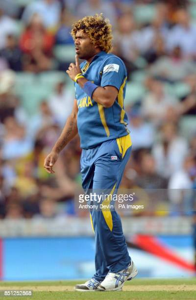 Sri Lanka's Lasith Malinga reacts during the ICC Champions Trophy match at The Oval London