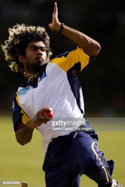 Sri Lanka's Lasith Malinga runs in to bowl during a nets session at Asgiriya International Stadium Kandy