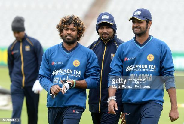 Sri Lanka's Lasith Malinga Tillakaratne Dilshan and Lahiru Thirimanne during the nets practice session at Old Trafford Cricket Ground Manchester