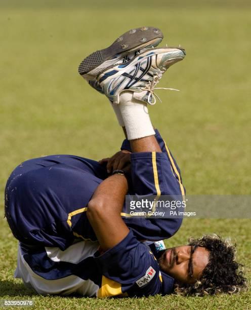 Sri Lanka's Lasith Malinga warms up before a nets session at Asgiriya International Stadium Kandy