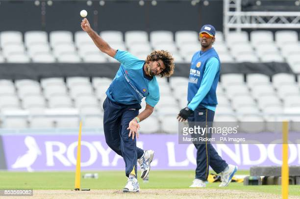 Sri Lanka's Lasith Malinga with Sachithra Senanayake during the nets practice session at Old Trafford Cricket Ground Manchester