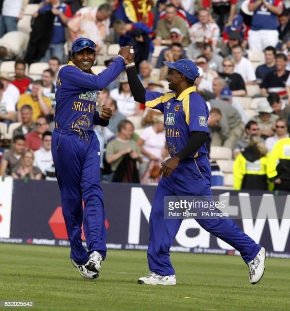 Sri Lanka's Mahela Jayawardene catches England's Liam Plunkett to win the match and is congratulated by teammate Sanath Jayasuriya during the One Day...