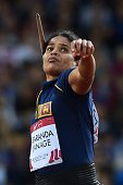 Sri Lanka's Nadeeka Lakmali Babaranda Liyanage competes in the final the women's javelin throw athletics event at Hampden Park during the 2014...