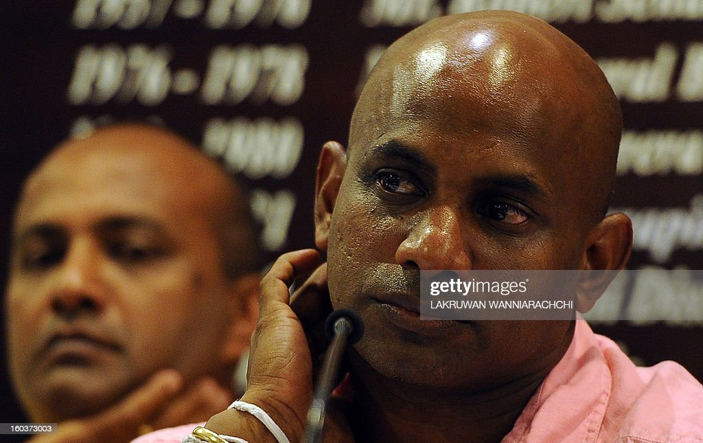 Sri Lanka's new chief cricket selector Sanath Jayasuriya (R) and fellow selection panel member, former Sri Lankan cricket captain Hashan Thilakarathna (L) speak to reporters in Colombo on January 30, 2013. Jayasuriya, who is also a ruling party member of parliament, said he wants to ensure more 'passion for the game' among players in the national team.