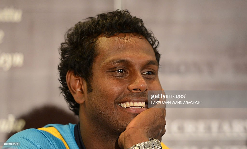 Sri Lanka's new cricket captain Angelo Mathews speaks to reporters in Colombo on February 14, 2013. All-rounder Angelo Mathews has been appointed Sri Lanka's new Test and one-day captain for next month's home series against Bangladesh, selectors announced on Thursday. The 25-year-old replaced prolific batsman Mahela Jayawardene, who stepped down after leading on a recent tour of Australia where Sri Lanka lost the Test series 3-0 and drew a one-day series 2-2.