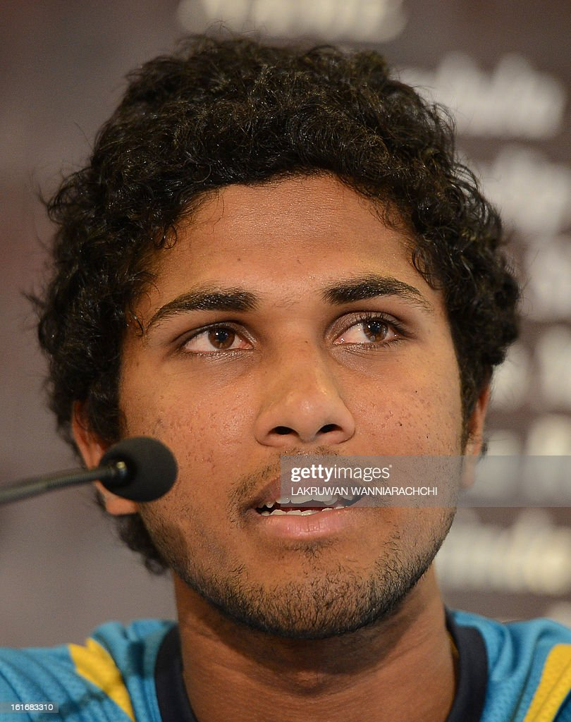 Sri Lanka's new T20 cricket captain Denesh Chandimal speaks to reporters in Colombo on February 14, 2013. All-rounder Angelo Mathews has been appointed Sri Lanka's new Test and one-day captain for next month's home series against Bangladesh, selectors announced on Thursday. The 25-year-old replaced prolific batsman Mahela Jayawardene, who stepped down after leading on a recent tour of Australia where Sri Lanka lost the Test series 3-0 and drew a one-day series 2-2.