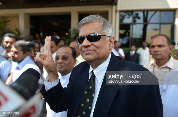 Sri Lanka's newly elected Prime Minister Ranil Wickremasinghe arrives at the election commission office in Colombo on January 9 2015 Maithripala...