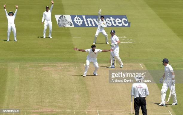 Sri Lanka's Shaminda Eranga successfully appeals for the wicket of England's Ian Bell during day one of the Investec Test match at Lord's Cricket...