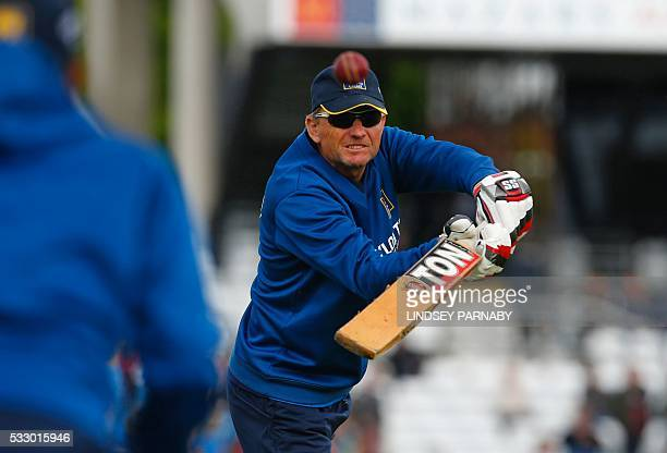 Sri Lanka's South African coach Graham Ford takes part in the warmup before the second morning's play in the first cricket Test match between England...