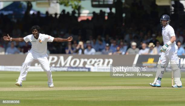 Sri Lanka's successfully appeals for the wicket of England's Ian Bell during day one of the Investec Test match at Lord's Cricket Ground London