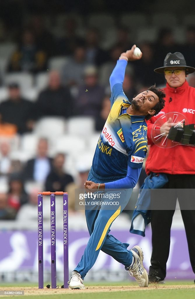 Sri Lanka's Suranga Lakmal bowls during play in the fourth One Day International (ODI) cricket match between England and Sri Lanka at The Oval cricket ground in London on June 29, 2016. England's victory target was revised to 308 off 42 overs due to the weather having seen the tourists show real guile and style in their innings. ECB