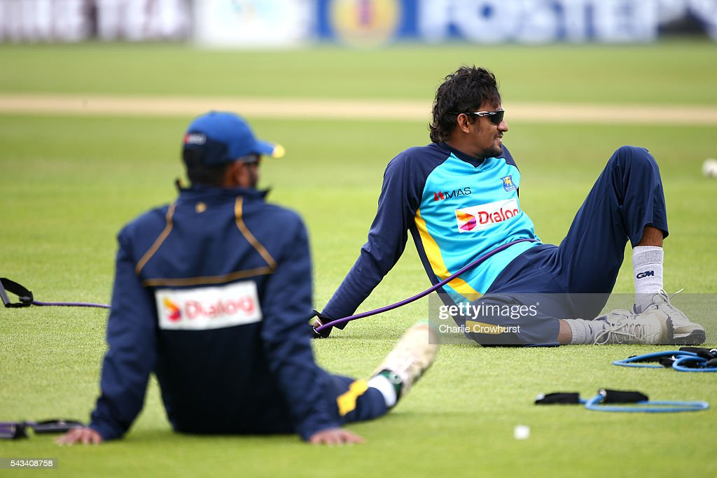 Sri Lanka's Suranga Lakmal relaxes during an England & Sri Lanka Nets Session at The Kia Oval on June 28, 2016 in London, England.