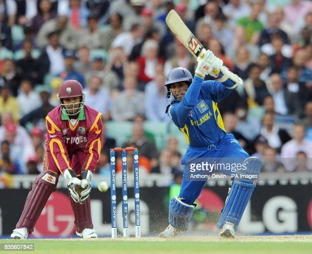 Sri Lanka's Tillakaratne Dilshan bats during the ICC World Twenty20 Semi Final at The Oval London