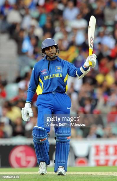 Sri Lanka's Tillakaratne Dilshan celebrates scoring 50 not out during the ICC World Twenty20 Semi Final at The Oval London