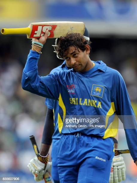 Sri Lanka's Tillakaratne Dilshan leaves the field after scoring 96 not out during the ICC World Twenty20 Semi Final at The Oval London